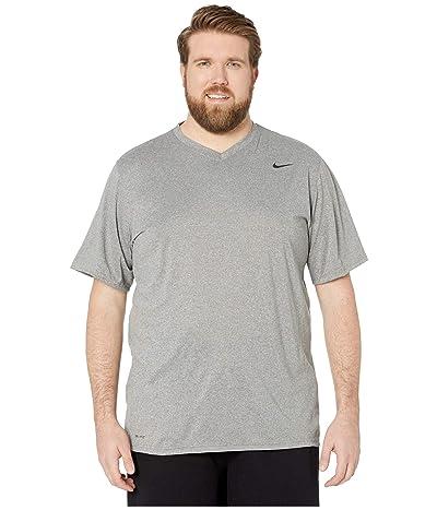 Nike Big Tall Dry Tee Legend V-Neck 2.0 (Carbon Heather/Black/Black) Men