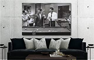 Rat Pack Playing Pool Famous Actors/Singers Canvas Wall Art Print (30in x 45in Framed)