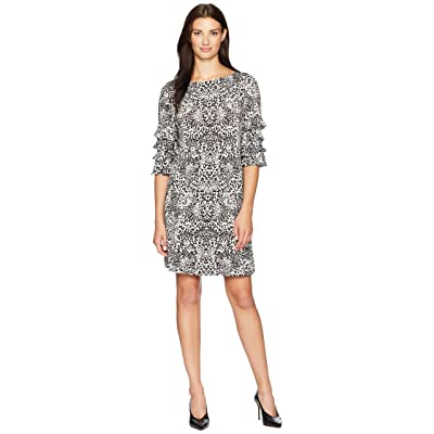 Gabby Skye Animal Ruffle Sleeve Dress (Grey/Black) Women