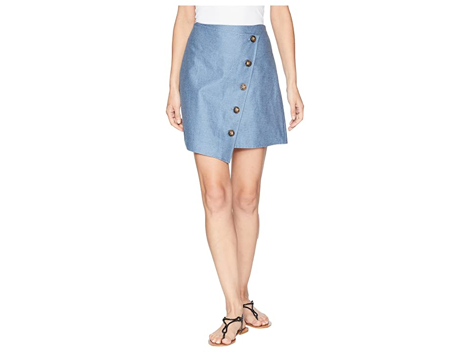 J.O.A. Angle Buttoned Mini Skirt (Light Chambray) Women