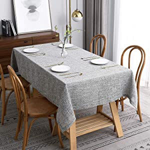 maxmill Flaxy Faux Linen Table Cloth with 2-Tone Slubby Texture Wrinkle Free Soft Tablecloth for Kitchen Dining Tabletop Outdoor and Indoor Use Rectangle 60 x 104 Inch Light Gray