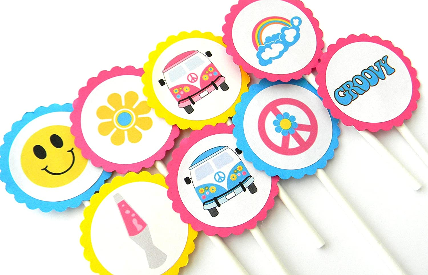 70s Theme Cupcake Cheap bargain Toppers 12 - Be super welcome Set of