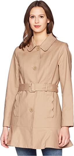 "33.5"" Single Breasted Trench Coat w/ Tie Waist"