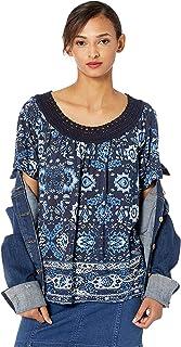 Lucky Brand Women's Blue Crochet Short Sleeve Tee Shirt