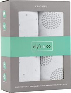 Ely's & Co. Crib Sheet 2-Pack Combed Jersey Cotton for Baby Boy or Baby Girl (Grey Dottie)