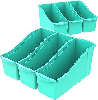 Storex Large Book Bin, 14.3 x 5.3 x 7 Inches, Teal, Case of 6 (71120U06C)