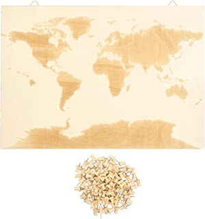 World Wood Travel Map and Push Pins (16.5 x 11.5 in, Natural Color)