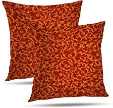 Batmerry Floral Pillow Covers 18x18 Inch Set of 2, Antique Textile Carpet Red Wallpaper Pattern Double Sided Decorative Pi...