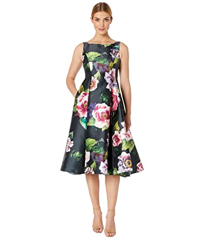 Adrianna Papell Tea Length Printed Floral Mikado Fit and Flare Dress (Black Multi) Women