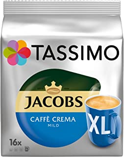 Tassimo Jacobs Caffè Crema Mild XL, Coffee Capsules, roasted Ground Coffee, 16 T-Discs