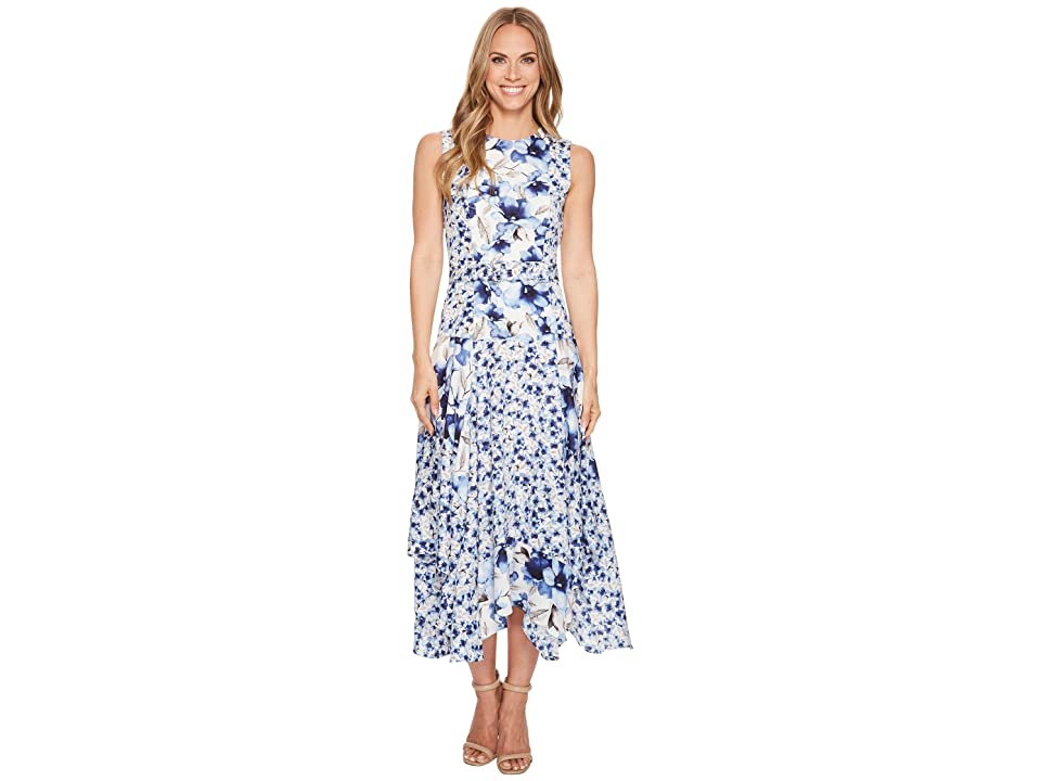Calvin Klein Belted Handkerchief Dress (Regatta Blue/Ice Blue) Women