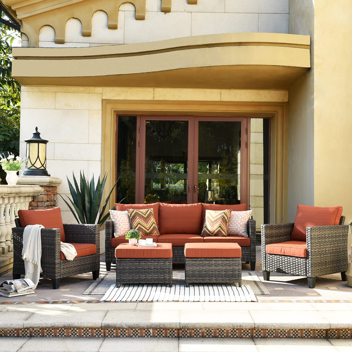XIZZI Patio Furniture, Outdoor Garden Sofa sectional, Wicker Patio Furniture with Wather Resistant Cushion and 2 Pillows (Red)