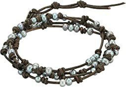 Chan Luu - Sterling Silver 5 Wrap Bracelet on Leather with Fresh Water Pearls