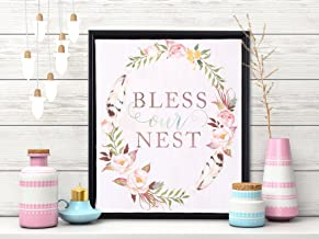 Painting Mantra - Bless Our Nest Framed Canvas Art Print - 11 inch X 13 inch