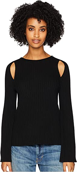 Shoulder Slit 100% Cashmere Crew