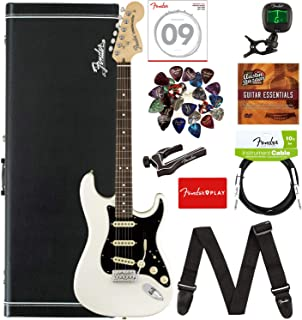 Fender American Performer Stratocaster, Rosewood - Arctic White Bundle with Hard Case, Gig Bag, Cable, Tuner, Strap, Strings, Picks, Capo, and Austin Bazaar Instructional DVD