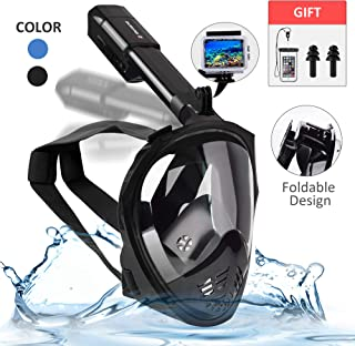 SPORUS Snorkel Mask Full Face, Anti-Fog Diving Mask with Foldable Tube Support 180°Panoramic View for Adults and Kids