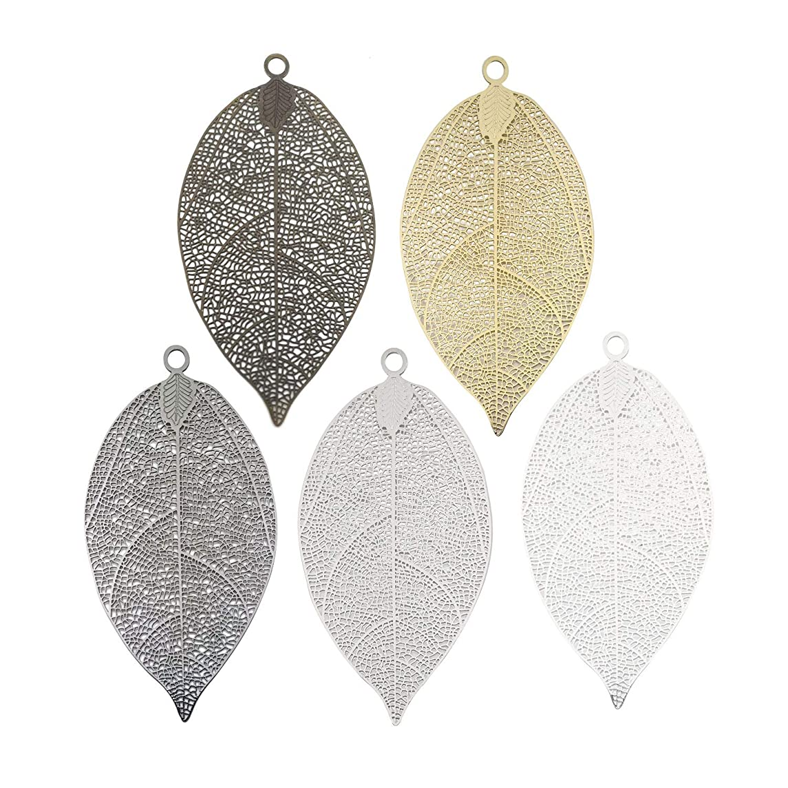 iloveDIYbeads Craft Supplies 5pcs Mixed Leaf Charms Bookmark Charms Pendants for Crafting, Jewelry Findings Making Accessory for DIY Necklace Bracelet M244