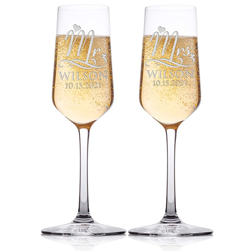 Set of 2 - Personalized Wedding Champagne Flute Glasses, Customized Wedding Champagne Glasses for Bride and Groom, Mr & Mrs Last Name & Date With Heart, Celebration Champaign Flute Set - C4