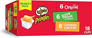 Pringles Flavored Variety Pack Potato Crisps - Original, Cheddar Cheese, Sour Cream and Onion,12.9 oz (18 Count)