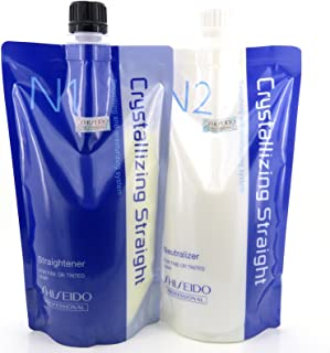 Hair Rebonding Shiseido Professional Crystallizing Hair Straightener (N1) + Neutralizer for Natural to Sensitized Hair(old version : Fine or Tinted hair)(N2)