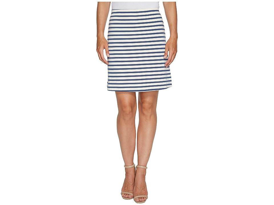 Three Dots Breton Stripe Mini Skirt (Cadet/Cream) Women