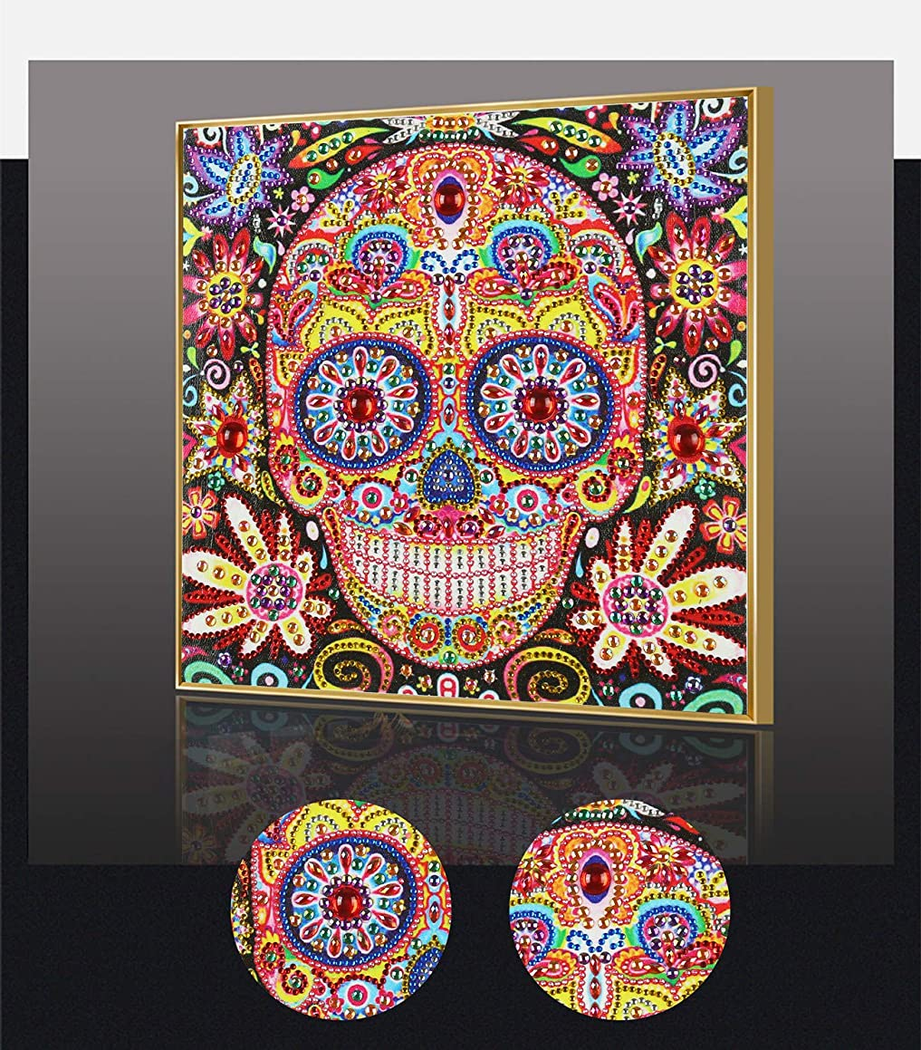 Amersin DIY 5D Special Shaped Diamond Painting by Number Kits, Full Drill Rhinestone Embroidery Cross Stitch Pictures for Christmas Home Decor (Skull 2)