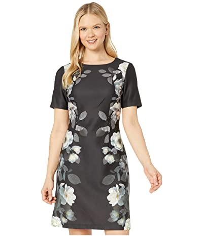 Adrianna Papell Shadow Roses Printed A-Line Dress (Black Multi) Women