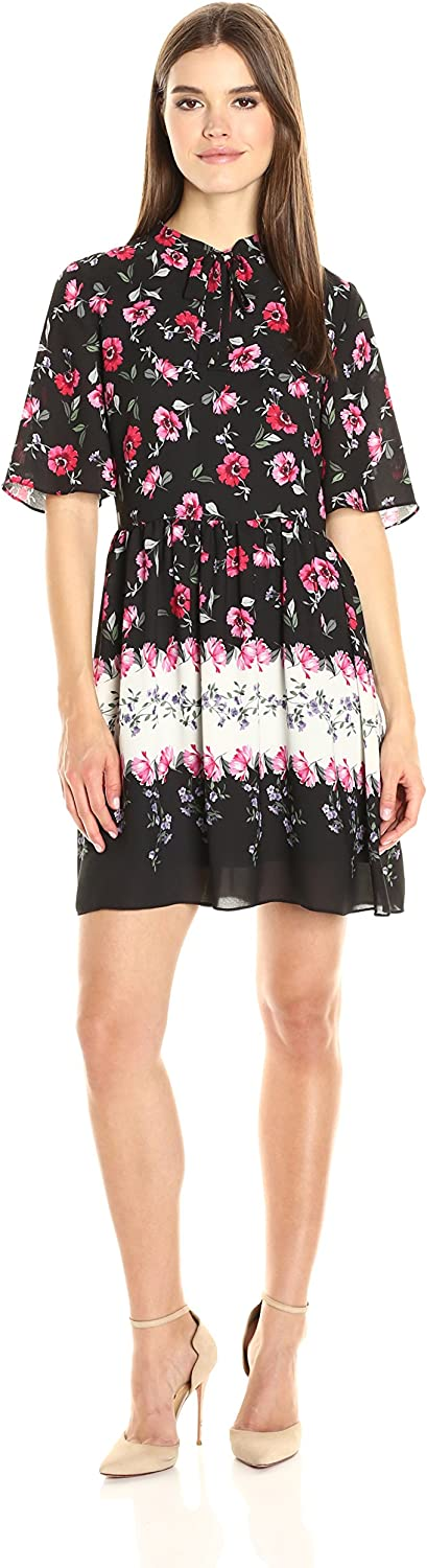 CeCe by Cynthia Steffe Womens Elises S Tie Neck Floral Border Dress