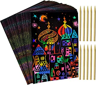 100 Sheets Rainbow Scratch Paper - 10 Wooden Styluses Included - Create Rainbow Scratch Art with This Jumbo Craft Pack