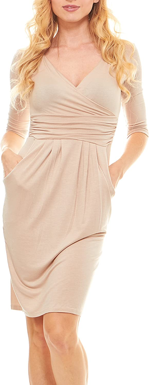 Seranoma Womens Basic VNeck Sleeve Dress  3 4 Sleeve Wrap Pencil Dress with Pockets
