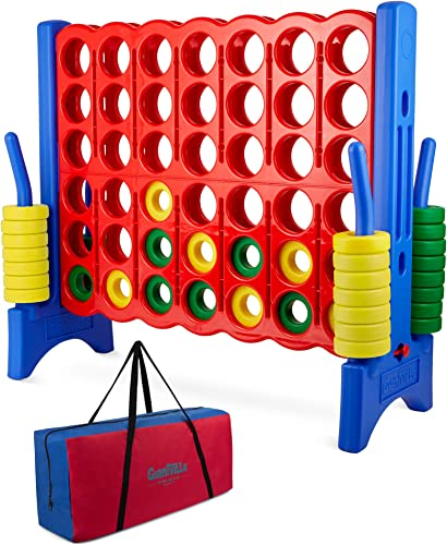 popular Giant 4 in a Row Connect Game - Storage Carry Bag Included online sale - 4 Feet Wide by 3.5 Feet Tall - Oversized Floor Activity for Kids and Adults – Jumbo Sized wholesale for Outdoor and Indoor Play - Durable Waterproof outlet online sale