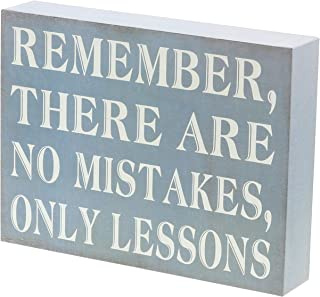 """Barnyard Designs Remember There are No Mistakes Only Lessons Box Sign Primitive Country Motivational Inspirational Quote Sign Home and Office Decor 8"""" x 6"""""""