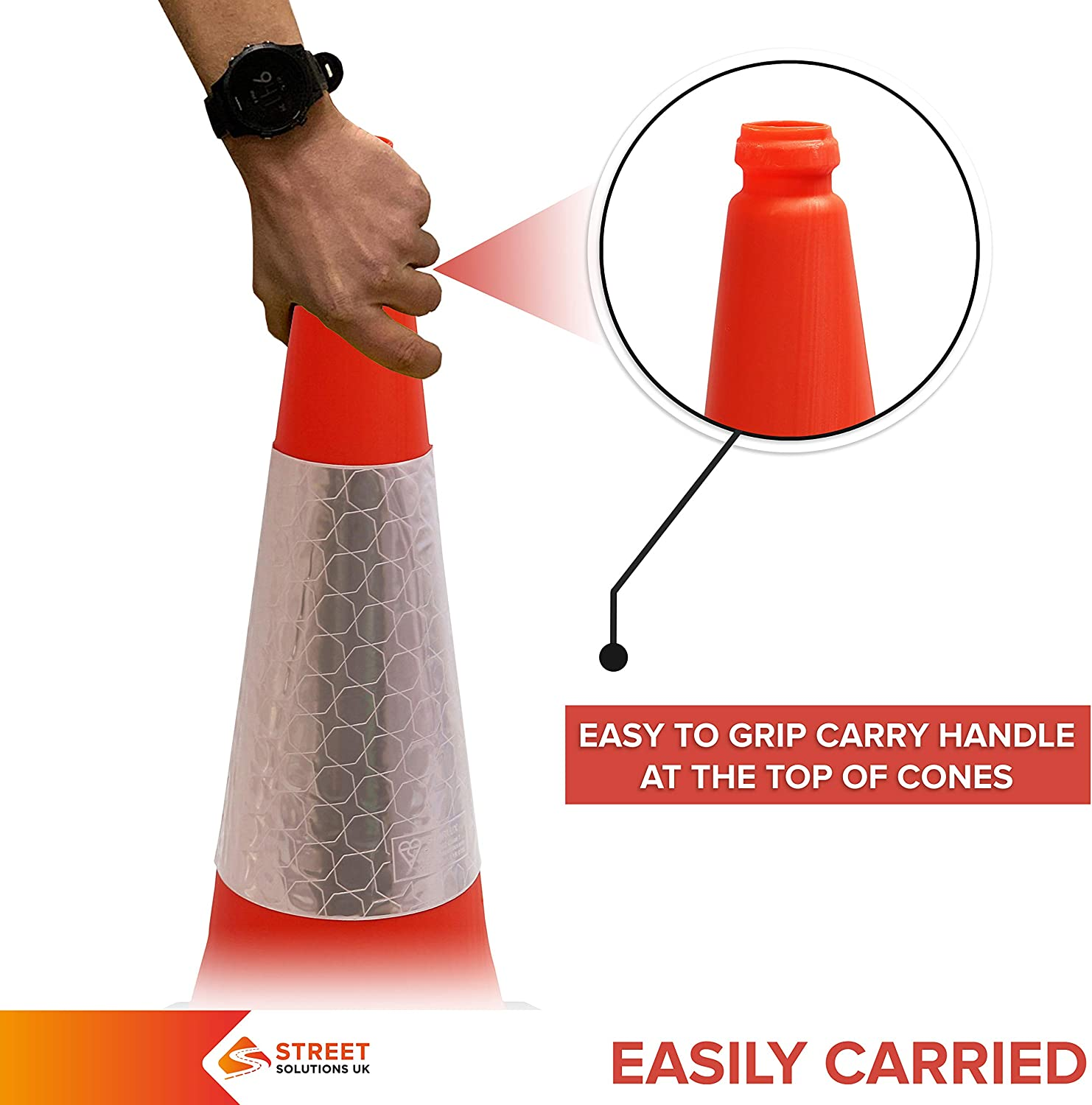 5 x 750 mm Road Traffic Cones Green Premium Quality Safety Cone Strong and Durable with Extremely Low Centre of Gravity Street Solutions Self Weighted