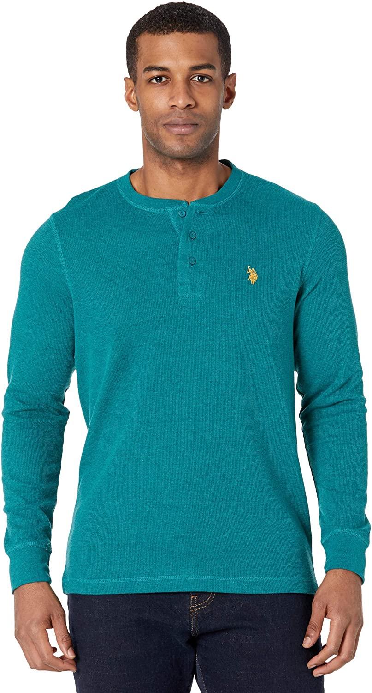 U.S. Polo Assn. Long Sleeve Thermal Henley Shirt Rhinebeck Teal Heather SM
