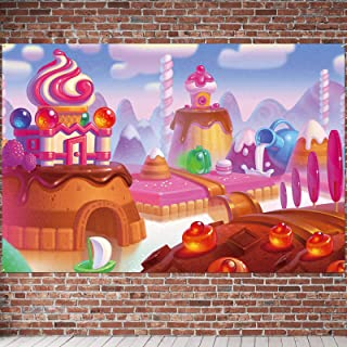 PAKBOOM Sweet Candy Lollipop Colorful Backdrop Banner - Candyland House Birthday Party Decorations Photo Booth Supplies fo...