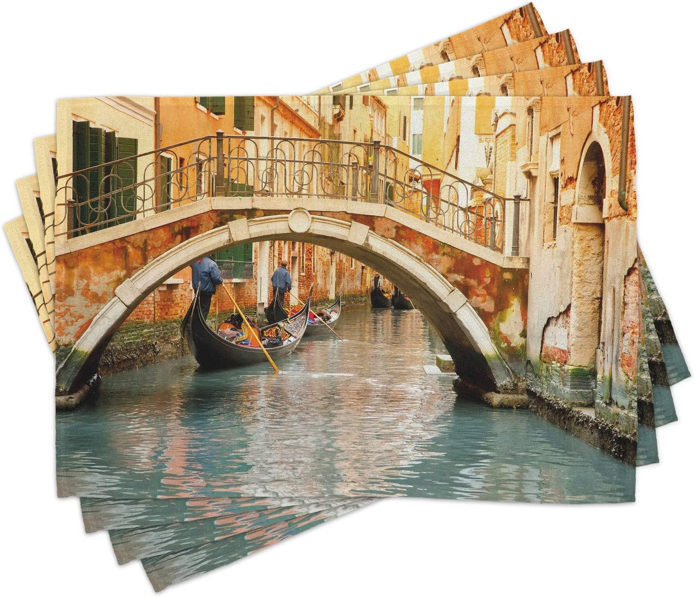 Ambesonne Venice Place A surprise price is realized 55% OFF Mats Set of Bridge Traditional and 4 Gon