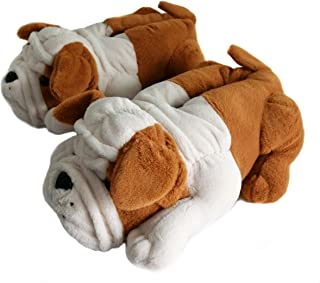 Fuzzy Winter Indoor Animal Slippers for Adult and Kid, Bull Dogs