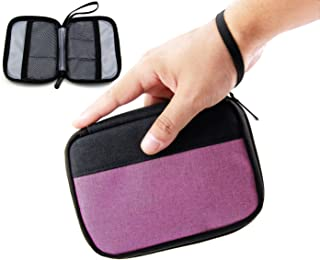 Admirable Idea Small Electronic Organizer Pouch Zipper Travel Cosmetic Makeup Handbag Coins/USB/Hard Drive/Cables Carry Case with Hand Strap (Purple&Black)