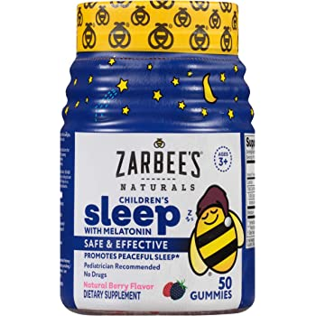 Zarbee's Naturals Children's Sleep with Melatonin Supplement, Natural Berry Flavored, 50 Gummies