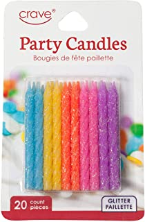 Jacent Fun Glitter Striped Birthday Candles, Blue, Yellow, Orange, Pink and Purple - 20 Count per Package, 1-Pack