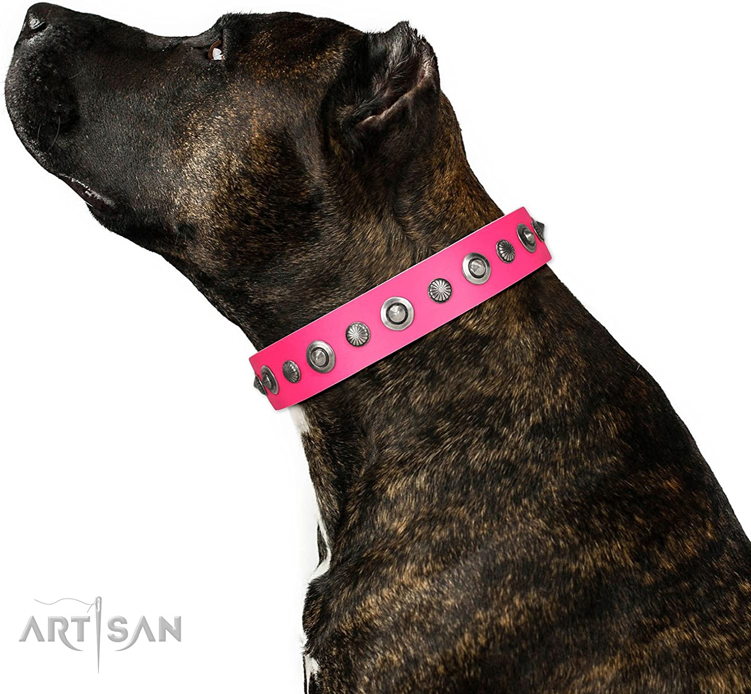 FDT Artisan 32 inch Pink Leather Dog Collar  Gorgeous Roundie  Exclusive Handcrafted Item  1 1 2 inch (40 mm) Wide  Gift Box Included