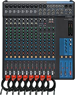 Yamaha MG16 16-channel Analog Mixer Bundle with 10 Microphone Preamps, 4 Dedicated Stereo Line Channels, 4 Aux Sends, EQ, and 1-knob Compressors with 8 Pack of Mixer Cables