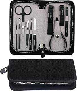 FIXBODY Manicure Pedicure Set Nail Clippers - Black Stainless Steel Hygiene Kit - Toenail Clippers Includes Cuticle Remover with Black Leather Travel Case Beauty Care Tools, Set of 10