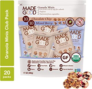 MadeGood Granola Minis Club Pack (20 ct, 0.85 oz. each); 10 Bags Chocolate Chip and 10 Bags Mixed Berry Granola Minis; Veg...