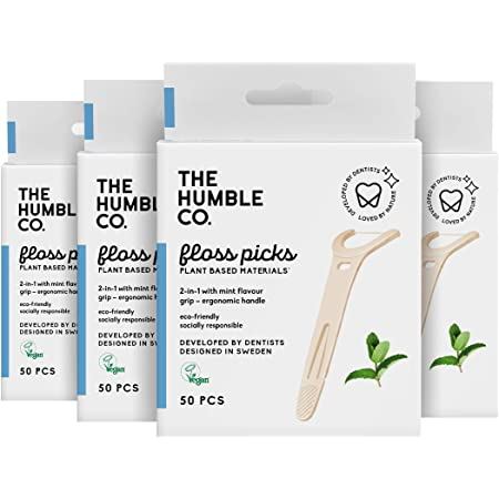 The Humble Co. Natural Dental Floss Picks (200 Count) - Vegan, Eco Friendly, Sustainable Dental Flossers with Grip Handle, Zero Waste Plaque Remover for Oral Care with a Fresh Feel (Mint)
