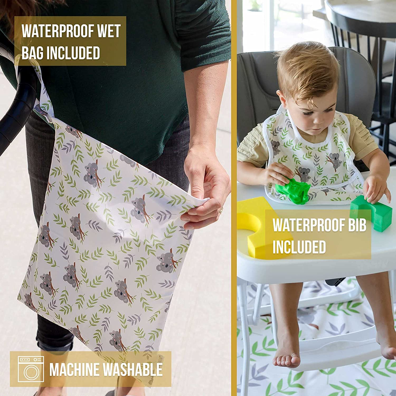 """BURBEII Large Splat Mat for Under High Chair, Koala Bib and Wet Bag! 51"""" Baby Splash Mat. Non Slip Spill Mat, Waterproof Play Mat, Non Plastic Mat, Under Highchair Floor Mat, Art Mat Floor Protector"""