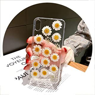 Real Pressed Dried Flowers Phone Case for iPhone Xs Max XR 6 6s 7 8 Plus X Silicon TPU Clear Floral Cover Cases Fundas,Q,for 7Plus 8Plus