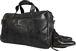 19 Inch Leather Travel Duffle Bag For Men Overnight Weekend Luggage Carry On Duffel Bag (Black)