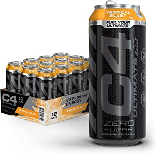 C4 Ultimate Sugar Free Sparkling Energy Drink Tropical Blast | 16oz (Pack Of 12) | Pre Workout performance drink with No A...